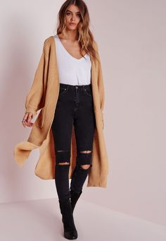 Missguided - Oversized Cardigan Camel
