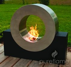Not designed for dogs to jump through! This is an ultra modern outdoor fireplace, be prepared to wow your friends and family with this unique outdoor biofuel fireplace. No propane required!