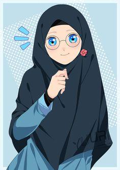 Mba Hijaber by yuuri-matsumoto on DeviantArt Manga Anime Girl, Anime Neko, Girl Cartoon, Cartoon Art, Muslim Pictures, Hijab Drawing, Islamic Cartoon, Hijab Cartoon, Islamic Girl
