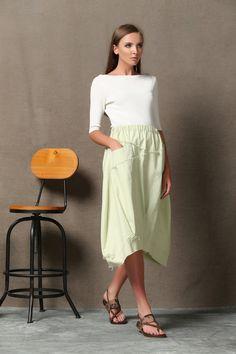 Women linen skirt maxi skirt C620 by YL1dress on Etsy