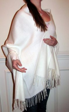 winter shawls winter wedding shawl wrap- beautiful warm ivory white shawl for your wedding or special events.