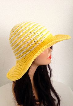 Crochet Wide Brimmed Cotton Summer Hat.  Cotton Sun by Africancrab, $12.00
