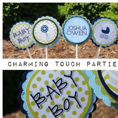Boy baby shower decor.  Blue and green baby shower cupcake toppers by Charming Touch Parties.  Set of 12, fully assembled and customizable. - http://babyshowercupcake-toppers.com/boy-baby-shower-decor-blue-and-green-baby-shower-cupcake-toppers-by-charming-touch-parties-set-of-12-fully-assembled-and-customizable/