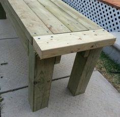 """The end of our bench now needs the 4 - 2x4x14"""" pieces to be attached"""