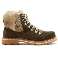 Montelliana Camelia fur-trimmed suede après-ski boots ($290) ❤ liked on Polyvore featuring shoes, boots, dark green, rubber sole shoes, dark green shoes, ski shoes, fur-trimmed boots and rubber sole boots
