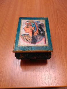 Egyptian style rustic painted jewlery box, 10x7,5x6 cm, nice gift by DoriansSanctuary on Etsy