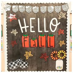 "Tabby Monson on Instagram: ""Hallway bulletin board got a facelift! Love this adorable set from @confettiandcreativity ! Perfect fall touch 🍁🌻🎃🍂🍁 • • #hellofall…"" Hallway Bulletin Boards, Fall Classroom Decorations, High School Classroom, Happy Fall Y'all, Hello Autumn, Touch, Holiday Decor, Instagram"