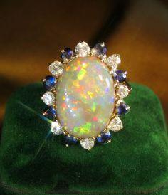 18K Diamond Black Opal Sapphire Ring Box Vintage Fine Cocktail Huge 11 Carats   eBay