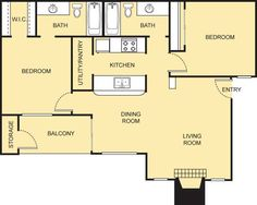 Monet Floor Plan - 2 Bath with approximately 875 square feet. 2 Bedroom Floor Plans, Living Room Storage, Small Studio, Monet, Square Feet, Bath, Flooring, How To Plan, Future
