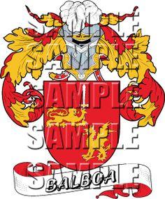 Balboa Family Crest apparel, Balboa Coat of Arms gifts