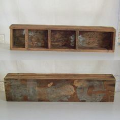 Vintage industrial divided wood box storage caddy made of bead board marked Hog on bottom by trendybindi, $50.00