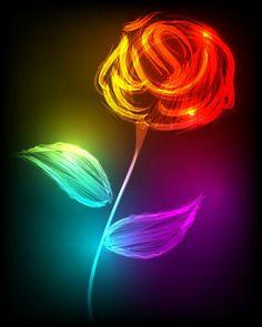 #Flower #Neon #Rose #Rainbow #Colorful