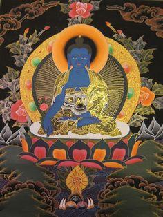 Gold Painted Medicine Buddha Thangka