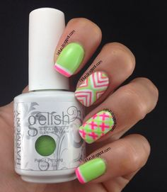 gelish hot pink and lime green colors of paradise