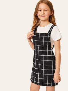 Girls Pocket Front Grid Pinafore Dress - Source by - Teenage Girl Outfits, Girls Fashion Clothes, Dresses Kids Girl, Kids Outfits Girls, Cute Girl Outfits, Tween Fashion, Cute Outfits For Kids, Teen Fashion Outfits, Cute Summer Outfits