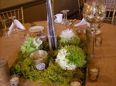 Silver Tree Centerpiece Floral Base with Green and White Hydrangea and Fuji Mum Tufts with Mercury Votives