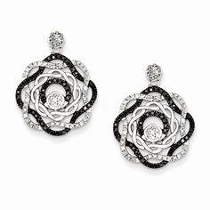 Sterling Silver Rhodium Plated Black & White Diamond Post Earrings