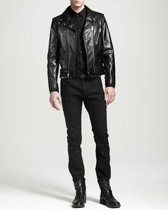 Leather Biker Jacket, Poplin Dress Shirt, Stretch-Cotton Pants & Skinny Leather Men\'s Belt by Saint Laurent at Bergdorf Goodman.