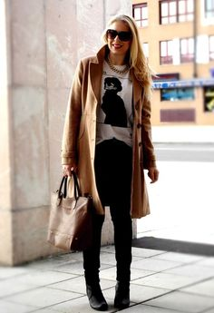perfect combination  , H in Coats, Zara  a/w 2012 in T Shirts, Stradivarius in Pants, SUITEBLANCO in Bags, SUITEBLANCO in Jewelry, Stradivarius in Ankle Boots / Booties