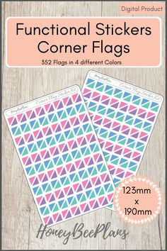 352 Functional Corner Flag stickers in 4 colors, Pink, Blue, Green and Purple. This sticker kit is designed for planning in your planner. Printable downloadable file allows you to print and cut either by hand or with a cutting machine of your choice. Printable Planner Stickers, Printables, Green And Purple, Pink Blue, Print And Cut, Different Colors, Corner, Flag, Kit