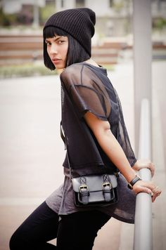 http://www.fashionindahat.com/ #minimal #mesh #fashion #black #outfit