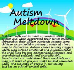 Autism meltdown. Manifest in various ways at various ages as they progress. What…