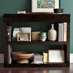 Bookshelf Console | West Elm Shelves for cookbooks and drawers for linens