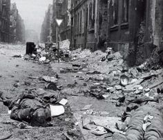 Dead German soldiers at Breslau. Breslau was turned into a fortress and there was fierce fighting in the last days of the war Ww2 Pictures, Man Of War, Rare Images, War Photography, Street Photography, Total War, World War Two, Wwii, Lord