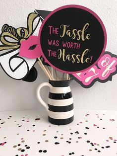 Kate spade inspired graduation photo booth props | pink graduation party | pink party decorations | girly graduation | pink selfie station