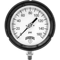 PPC Series 4.5 in. Black Phenolic Case Process Pressure Gauge with 1/4 in. NPT LM and Range of 0-160 psi
