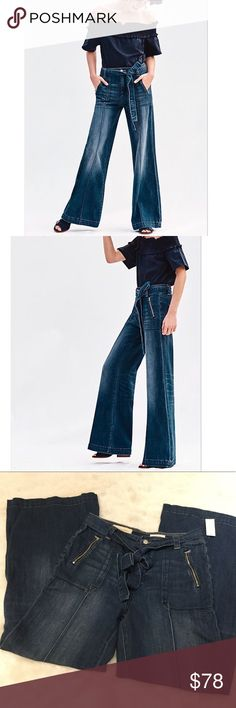 """NWT Anthropologie Pilcro Palazzo Jeans A statement-making wide-leg pair in a gently faded wash.  Cotton, spandex.  Removable belt.  Front zip, back patch pockets.  10.5"""" rise, 33"""" inseam.  Original retail: $158. Anthropologie Jeans Flare & Wide Leg"""
