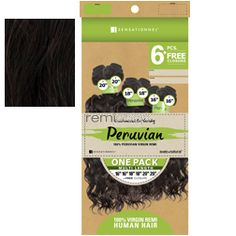"Bare & Natural Peruvian French Curl 1 Pack 12""14""16"" - Color NAT BLK - Unprocessed Weaving - 6 pcs + closure"