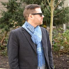 Denim blue grey mens hand woven wool winter scarf by Pretty Warm Designs