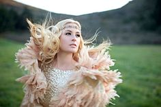 Blush feather capelet and gold sequin dress with floral headpiece #Boho #Wedding