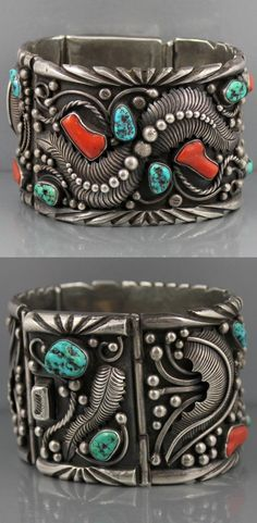 Bracelet | Harold Trujillo (Navajo).  Hinged sterling silver panels; Twisted Wire, Sterling Scrolls and Beads, Overlay Hand Chased Leaf Patterns, Turquoise and Coral.  ca. 1960s/70s.