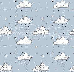 R8 - Cotton Lycra - Cutie Clouds - Per Half Yard