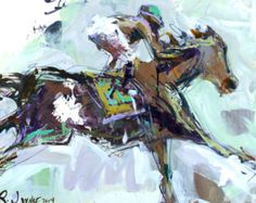 Large Modern Abstract Horse Racing Painting, Animal Painting, Mixed Media Painting, Abstract Artwork, Original Painting