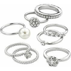 Candie's Silver Tone Simulated Crystal & Simulated Pearl Ring Set,... ($13) ❤ liked on Polyvore featuring jewelry, rings, ivory, crystal rings, imitation jewellery, artificial jewellery, set rings and silver tone charms