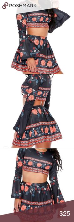 Navy and orange floral matching skirt set Worn once. Smoke free and pet free home Skirts Mini