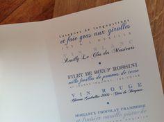 your beautiful days: Mariage - Menu Letterpress