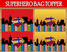 SUPERMAN Birthday Party  Superman BAG Toppers  by KROWNKREATIONS, $2.00
