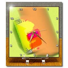 An object in 3D with bright, cheerful colors of peach and yellow Desk Clock