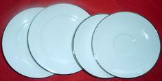 Royal Doulton Simpy Platinum  (2)  Saucers & (2) Dessert or Bread Plates
