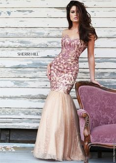 Sherri Hill 1948 - Ruby Beaded Lace Mermaid Prom Dress - RissyRoos.com