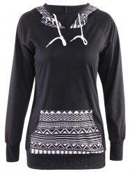 Chic Hooded Long Sleeve Geometric Print Hoodie For Women - BLACK XL