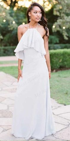 Ferrah chiffon bridesmaid dress with high neck and ruffled collar. Simple silhouette with a-line chiffon skirt and convertible tie options. Cheap Bridesmaid Dresses, Prom Dresses, Wedding Dresses, Bridal Gowns, Bridesmaids, Bridesmaid Tops, Bohemian Bridesmaid, Graduation Dresses, Cheap Dresses