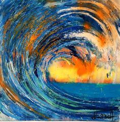 """Sunrise"" - a wave painting by Adam Brett www.My friend Adam's painting. Acrylic Painting Images, Acrylic Art, Abstract Ocean Painting, Abstract Art Images, Ocean Artwork, Abstract Waves, Large Painting, Blue Abstract, Wave Art"