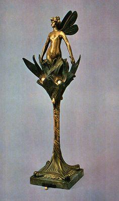 Art Nouveau decorative lamp by H. Beau, c.1890.