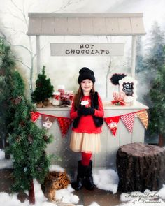 DIY hot cocoa stand for photography prop.  Can also be interchangeable as lemonade, kisses, or pumpkin stand to suit the season.