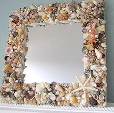 Beach Decor Shell Mirror Fully Covered w Natural Seashells, Starfish Seashell Frame, Seashell Art, Seashell Crafts, Beach Crafts, Diy Crafts, Seashell Candles, Party Crafts, Seashell Projects, Beach Room